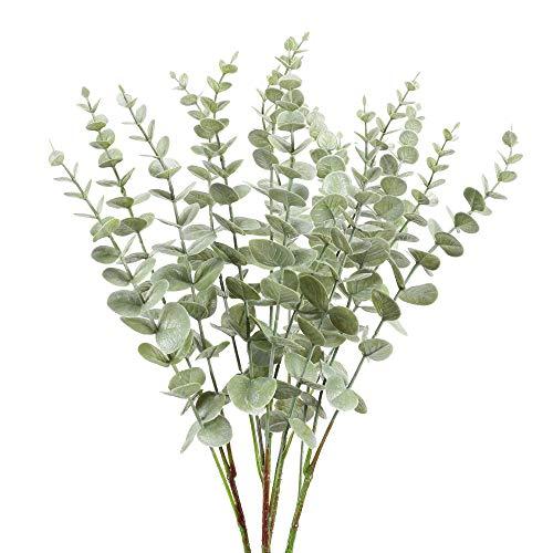 NAHUAA 4 Pcs Künstliche Eukalyptus Pflanze Silber Dollar Blätter Kunstpflanzen Plastik Pflanzen Künstlich Grünpflanzen für Balkon Garten Drinnen Draußen Frühling Fensterbank Deko Grau