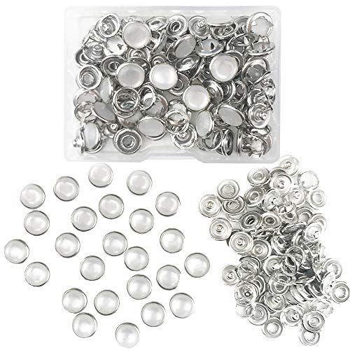 Pearl Snaps Fasteners Kit,10mm Clothes Ring for Western Shirts Clothes Prong Ring Snaps