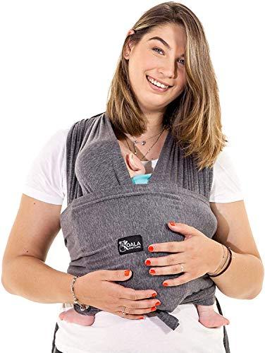 Koala Babycare Une écharpe de portage facile à enfiler, réglable, unisex - Porte-bébé multifonctionnel pour les bébés jusqu'à 10 kg - Écharpe de portage - Anthracite - Design Enregistré KBC®