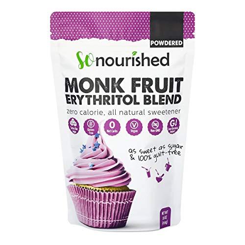 Powdered Monk Fruit Sweetener with Erythritol, 1:1 Sugar Substitute, Keto, 0 Calorie, 0 Net Carb, Non-GMO (Non-Organic, 1 Pound)