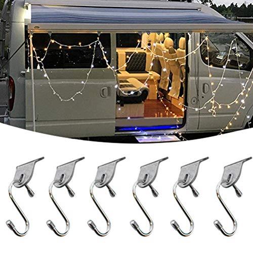 Bsopem 6 x externe Haken Garderobenleiste für Vorzelt, Schuhe, Hüte, Markisen, Zubehör, für Auto, Wohnmobil, Camping, Auto, Outdoor, Reisen