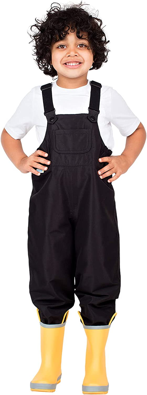 JAN & JUL Puddle-Dry Waterproof Bib Rain Pants for Toddler Kids