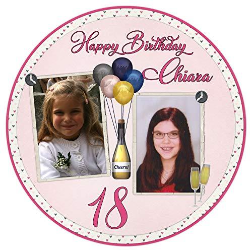 Tortenaufleger Tortenbild 18 Geburtstag Mädchen sofort frei gestalten den Wunschtext und Foto essbar Ø 20cm 2101