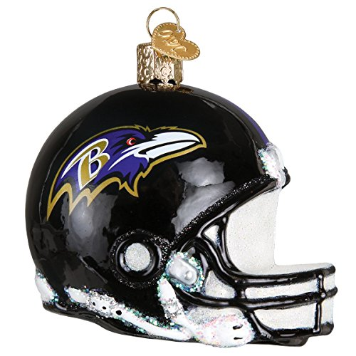 Old World Christmas Baltimore Ravens Glass Blown Ornaments for Christmas Tree Helmet
