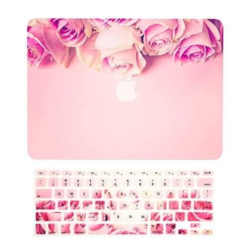 TOP CASE - 2 in 1 Signature Bundle Graphics Matte Hard Case + Keyboard Cover Compatible MacBook Air 13' (13' Diagonally) Model: A1369 & A1466 (Older Version, Release 2010-2017) - Pink Rose