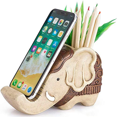 IBWell Funny Resin Elephant Shaped Pen Container Cell Phone Stand Pen Pencil Holder with Phone Stand Clips Brush Scissor Holder Desk Organizer Decoration for Office Desk Home Decorative