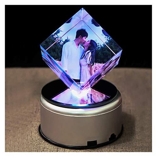HJHJ Caja de música Creativa Caja De Música con Foto Personalizada, Caja De Música con Forma De Cubo De Cristal para Niños,luz Nocturna,lámpara LED Bluetooth (Color : 18 Songs)