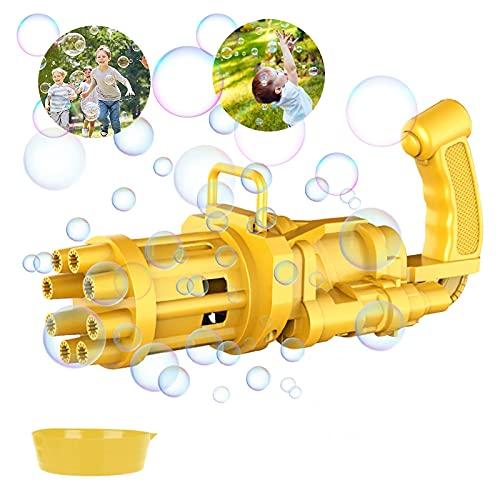 Lunriwis Gatling Bubble Machine 2021 Cooles Spielzeug Geschenk Acht Loch Automatische Bubble Maker Kinder Bubble Gun Outdoor-Spielzeug für Jungen und Mädchen(Yellow)