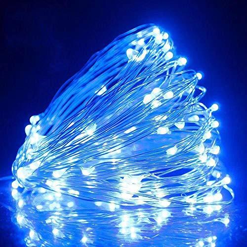 USB met afstandsbediening lichtsnoer, 10 M 100 lampjes 8 functie koperdraad lichtslingers, LED lichtslingers-5 meter 50 lichtblauw