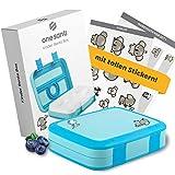 ONE SANTI Bento Box Kinder - Blaue Lunchbox mit Fächern + tolle Sticker, Kompakte Kinder Brotdose für Kindergarten und Schule - Brotbox Kinder mit Unterteilung - Die Snackbox für unterwegs