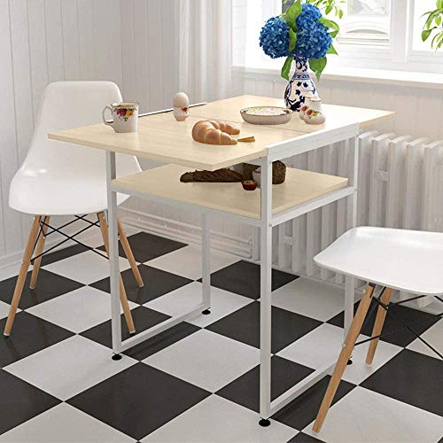 Redd Royal Extendable Dining Table Foldable Drop Leaf Table Square Space Saving Computer Laptop Breakfast Desk Coffee Shop (Maple)