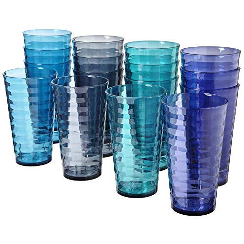 Splash 18ounce Plastic Tumblers | Value set of 16 in 4 Coastal Colors