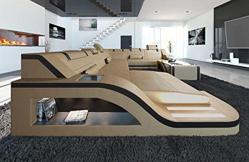 XXL Conjunto de Muebles Para Salón Cuero Palermo XXL sandbeige-schwarz Sofá Sofá de la Esquina Sofá de cuero sofá de diseño sofá de piel LUZ LED Iluminación REPOSACABEZAS Y Más