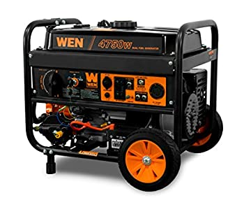 WEN DF475T Dual Fuel 120V/240V Portable Generator with Electric Start Transfer Switch Ready 4750-Watt CARB Compliant