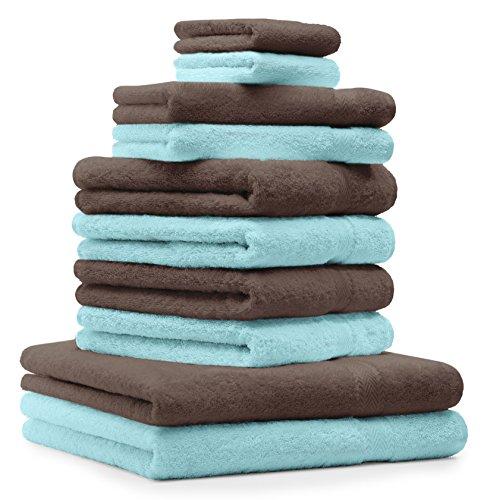 Betz Set di 10 Asciugamani Premium 2 Asciugamani da Doccia 4 Asciugamani 2 Asciugamani per Ospiti 2 Guanti da Bagno 100% Cotone Colore Marrone Noce e Turchese