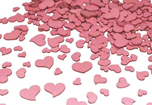 260 Stk Holz Herzen altrosa Hochzeit Tischschmuck Streuteile Holzherzen rosa rose Holz Herz Dekoherzen Streuherzen Tischdekoration Streudeko Basteln Liebe Valentinstag Muttertag Tischdeko Holzherz