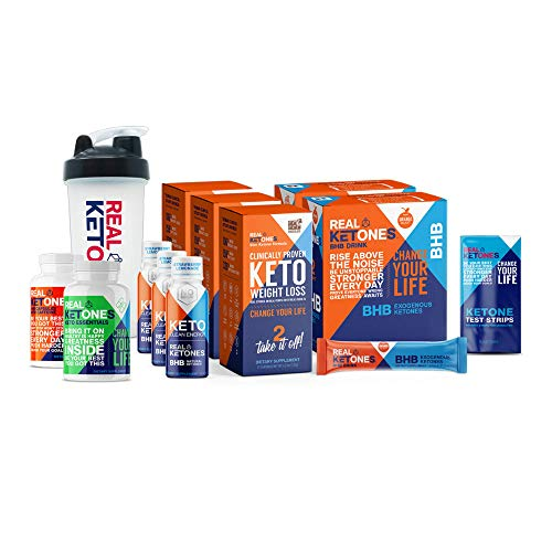 Real 30 Day Keto Starter Bundle Kit - Exogenous Ketone BHB Packets, BHB Pills, Multivitamins, 15 Urine Test Strips and 3 Energy Shot Drinks by Real Ketones™ 1