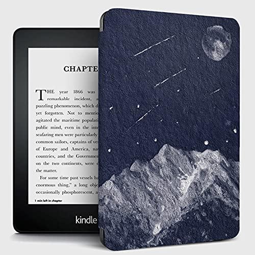 patrón de Paisaje de meteoros de montaña de Nieve, el Estuche se Ajusta a Kindle, la Funda a Prueba de Golpes de Cuero PU de Estilo de Libro con suspensión/Estela automática, Funda Delgada prot