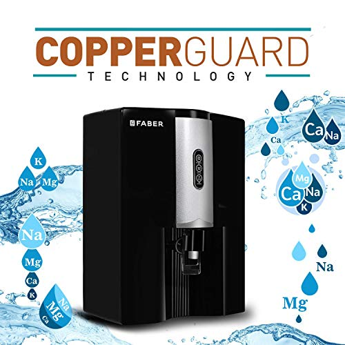 Faber Galaxy Plus RO+UV+UF+MAT, 9 Liters, 8 Stage Mineral Water Purifier with Upto 2500 TDS, Black