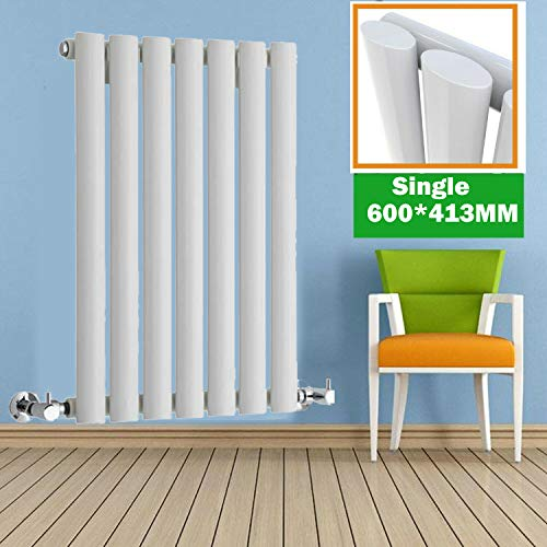 Ontwerper Radiator 600 x 413mm Enkele Ovaal Panel Kolom Wit Centrale Verwarming Radiator Laag Koolstofstaal Bouw Muur Gemonteerd Horizontale Warmer voor Woonkamer Slaapkamer