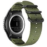 Fintie for Samsung Galaxy Watch Active 40mm / Galaxy Watch 42mm バンド 20mm 時計バンド スポーツバンド 交換ベルト ソフト 編みナイロン 通気 軽量防水 調節可能 Galaxy Watch/Gear Sport/Gear S2 Classic 対応(アーミーグリーン)