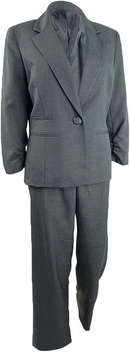 Le Suit Women's Cross Dye Plaid 1 Button Notch Collar Pant Suit