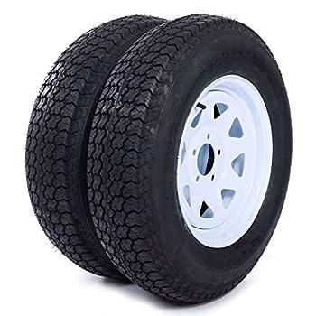 MILLION PARTS Set of 2 15  Trailer Tires Rims ST205/75D15 Tire Mounted  5x4.5  Bolt Circle White Spoke Trailer Wheel With Bias Black
