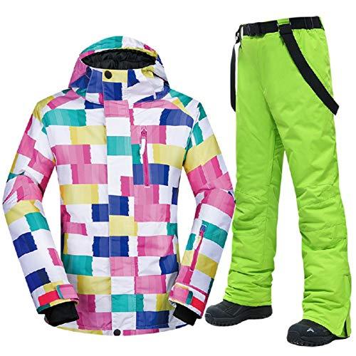 JOSCJKS Traje de esquí para Mujer, a Prueba de Viento, Impermeable, Conjuntos de Invierno, Chaqueta y Pantalones para la Nieve, Trajes de esquí y Snowboard CK Green M
