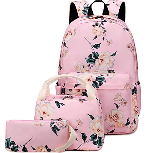 BLUBOON School Backpack Set Teen Girls Bookbags 15 inches Laptop Backpack Kids Lunch Tote Bag Clutch Purse (E0066 Pink)