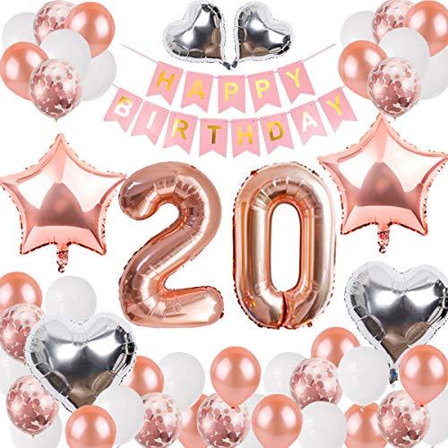 DANXIAN 20 Geburtstag Deko Rosegold Set, Happy Birthday Girlande Ballons Banner für Mädchen Geburtstag Party Deko