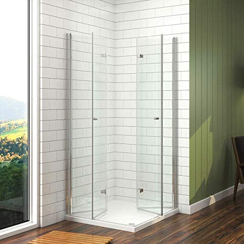 Meykoers Duschkabine 90x90cm Eckeinstieg Duschabtrennung Duschwand Glas Duschtür Falttür, Eckdusche Duschtrennwand aus 6mm ESG Sicherheitsglas ohne Duschtasse
