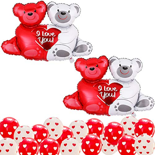 XtraLarge Teddy Balloons for Valentines Day Decorations - Pack of 24 | Red ,White Latex Heart Balloons for Anniversary Decorations | Huge Teddy Bear Balloon Foil for Romantic Decorations Special Night