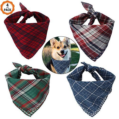 Dadabig 4 Pack Hond Bandana, Hond Kerchief Hoofddoek Plaid Bibs Sjaal Verstelbare Omkeerbare Driehoek Bibs Sjaal Accessoires voor Kleine Medium Grote Hond en Katten, 4 Kleuren