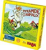 HABA Pyramide d'animaux, jeu d'empilement pour 2-4 joueurs à partir de 4 ans, avec figurines d'animaux en bois, également jouable en solo, 3478