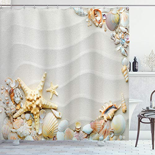Ambesonne Starfish Shower Curtain, Seacoast with Sand with Colorful Various Seashells Tropics Aquatic Wildlife Theme, Cloth Fabric Bathroom Decor Set with Hooks, 75' Long, White Pearl