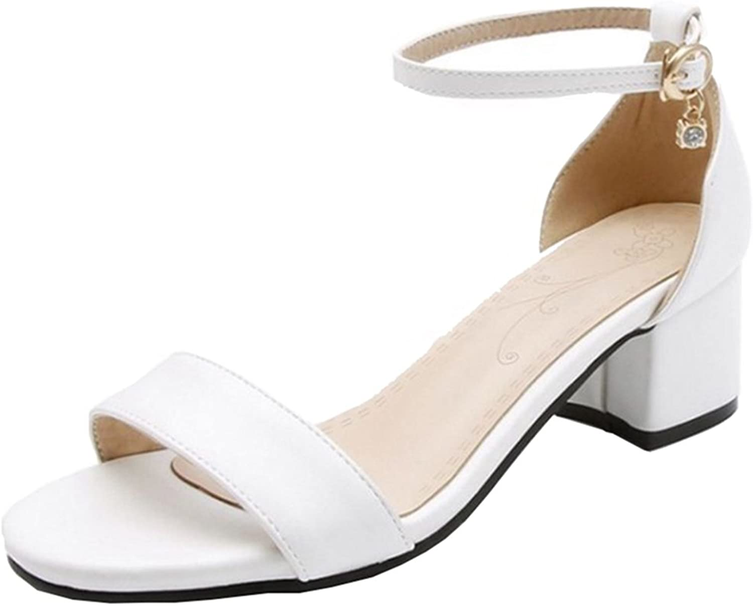Mo Joc Sandals with Low Chunky Heel and Open Toe Simple Designed Sandals with Large