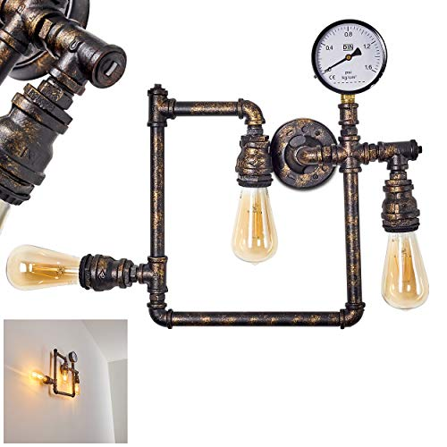 Wandleuchte Kolyma, moderne Wandlampe aus Metall Schwarz/Gold, 3-flammig, 3 x E27 -Fassung max. 60 Watt, Wandspot im Retro/Vintage Design m. dekorativer Anzeige, LED geeignet