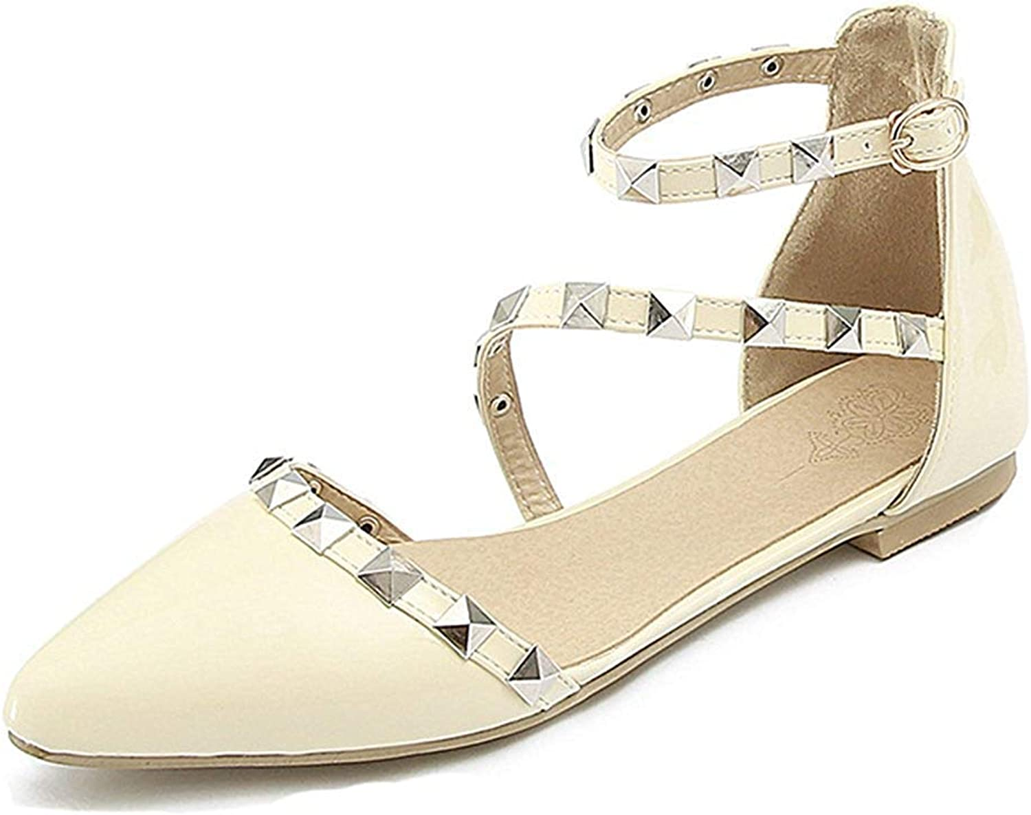 Unm Women's Closed Toe Flat Sandals with Studs - Burnished Ankle Strap - Comfort Pointed