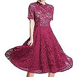 E-girl E539211 - Vestido de verano para mujer, cuello alto, manga corta rojo L