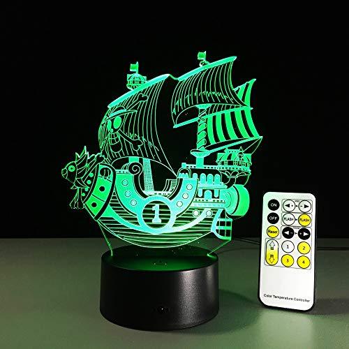 SUNNY 3D LED-nachtlampje van kleur veranderende lamp een stuk boot action figuur kleurrijke USB LED acryl verlichting Afstandsbediening en touch.