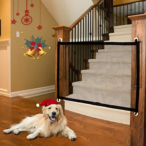 CHARMINER Pet Gate Dog Gate, Magic Pet Gate for Dog, Indoor Outdoor Mesh Retractable Dog Gate, Safe Enclosure Door Guard, Portable Adjustable Extra Wide for The House Doorways Stair 40.4' (Black)