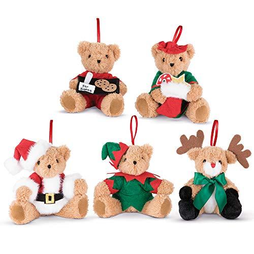 Vermont Teddy Bear Christmas Ornaments - Night Before Xmas Teddy Bear Ornaments, 4 Inch, Set of 5