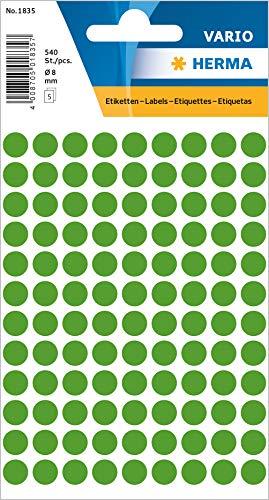 HERMA 1835 Vielzweck-Etiketten / Farbpunkte rund (Ø 8 mm, 5 Blatt, Papier, matt) selbstklebend, permanent haftende Markierungspunkte zur Handbeschriftung, 540 Klebepunkte, dunkelgrün