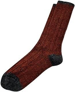 Tey-Art - Melange Cable Alpaca Socks - Rust - Large