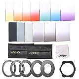 Andoer–13pcs cuadrado gradiente Full Color Kit de filtro para Cokin P Series con soporte para filtro, anillo adaptador (52mm/58mm/62mm/67mm/72mm), bolsa de almacenamiento, gamuza de limpieza