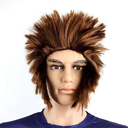 XTHY Peluca de los hombres Carnaval Melena Larga Rizada 80 Heavy Metal Roquero Quinqui Macarra Futbolista Peluca Hombre Personalidad vestido peluca cosplay cabello lacio marrn