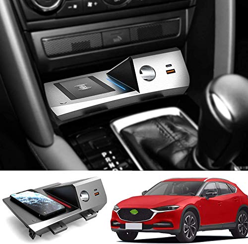 ZJYSM Cargador de automóvil inalámbrico para Mazda CX-4 2020 2021, 15W QC3.0 Cargador de teléfono de Carga rápida con Puertos USB de 18W para iPhone 12 Pro Mini 11 / XS MAX/XR / 8
