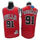 LLZYL Maglia - Chicago Bulls 91# Dennis Rodman Maglie da Basket per Uomo e Donna in Jersey Retro Tessuto Fresco Traspirante,C,L:180cm/75~85kg