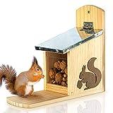 Estación de alimentación para ardillas - hecho de madera no tratada con techo de metal | Comedero...