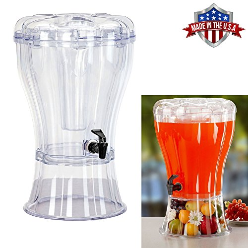 Cold Beverage Drink Dispenser Unbreakable 3.5 Gallon BPA Free with Ice Cone, Parties, Weddings, Catering, Events